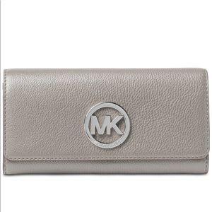 Michael Kors Fulton Carryall wallet, gray leather